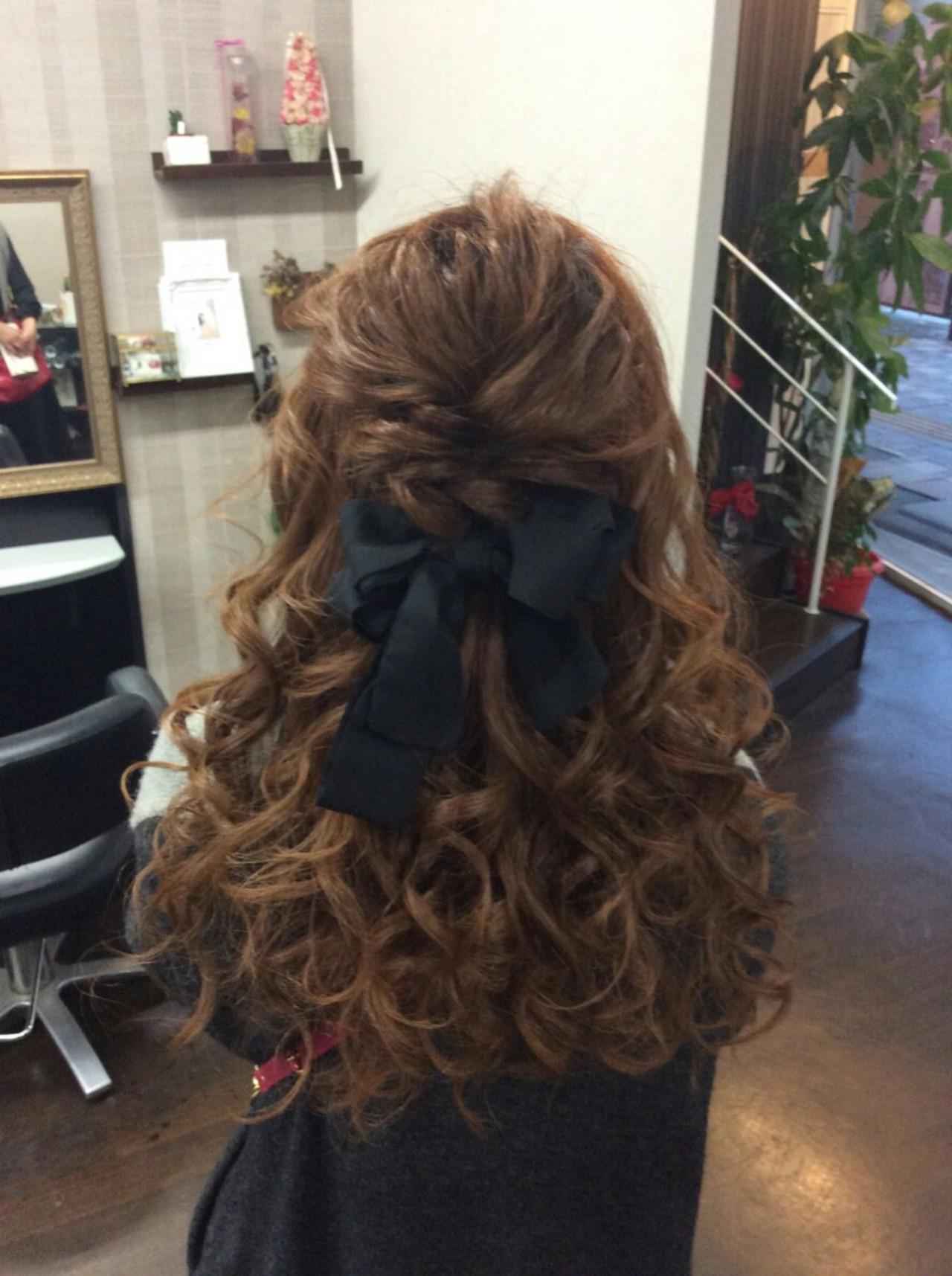 ナチュラル ヘアアレンジ ロング ハーフアップヘアスタイルや髪型の写真・画像