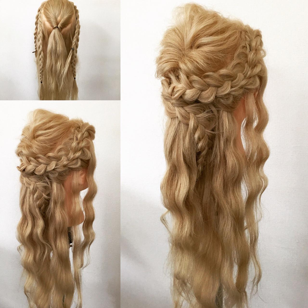 ロング 編み込み ヘアアレンジ 大人かわいいヘアスタイルや髪型の写真・画像