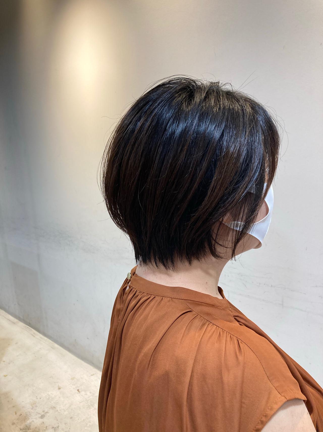 ゆるふわセット ミディアム 似合わせカット ショートバングヘアスタイルや髪型の写真・画像