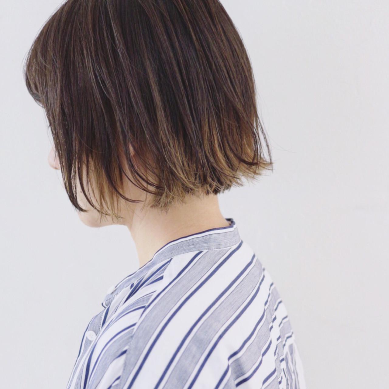 外ハネボブ グラデーションカラー インナーカラー ボブ ヘアスタイルや髪型の写真・画像 | 三好 佳奈美 / Baco.(バコ)