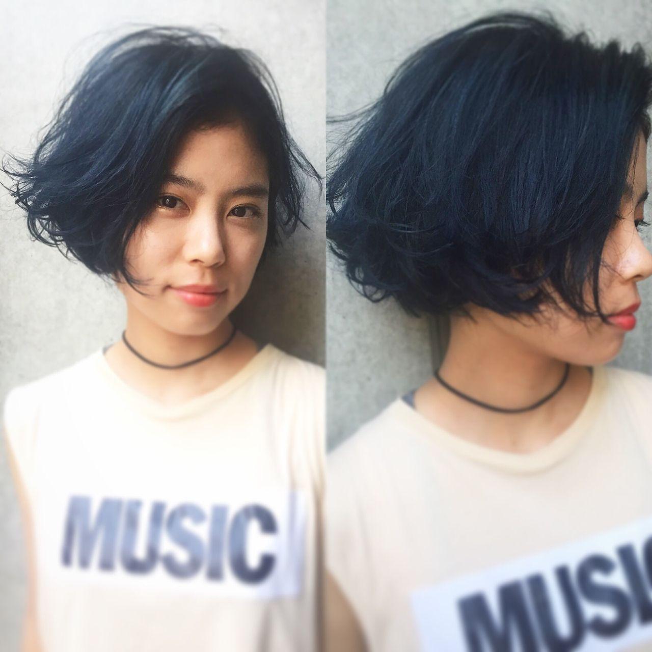 ボブ 黒髪 グラデーションカラー ストリート ヘアスタイルや髪型の写真・画像 | bibito crew / bibito