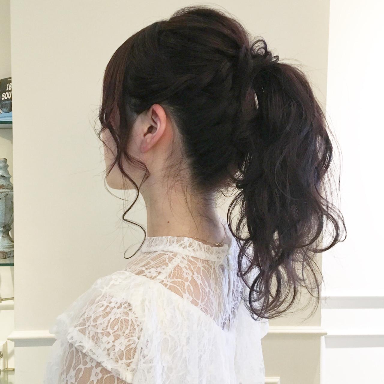 編み込み ナチュラル ガーリー ヘアアレンジ ヘアスタイルや髪型の写真・画像 | やしまひとみ / ROVER
