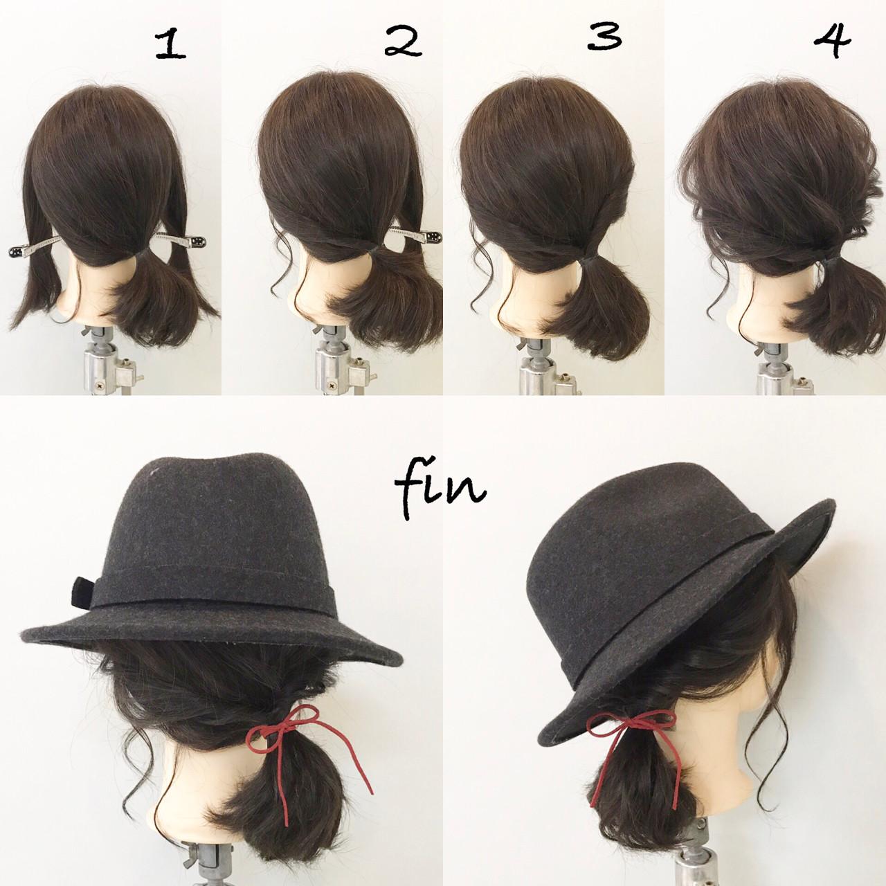 簡単ヘアアレンジ ヘアアレンジ ボブ ナチュラルヘアスタイルや髪型の写真・画像