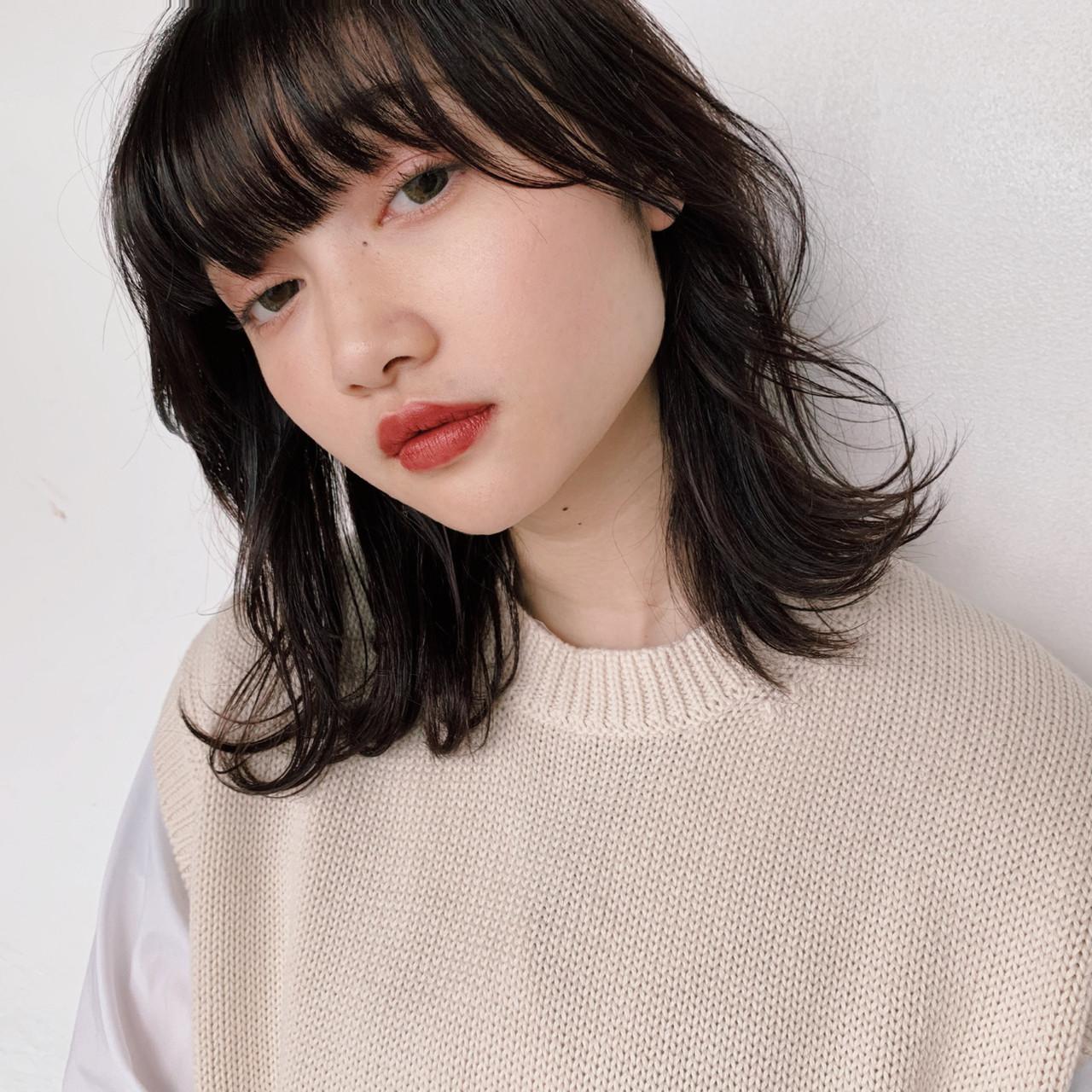 ミディアム 透明感 デート アンニュイほつれヘア ヘアスタイルや髪型の写真・画像 | sena / GARDEN harajuku