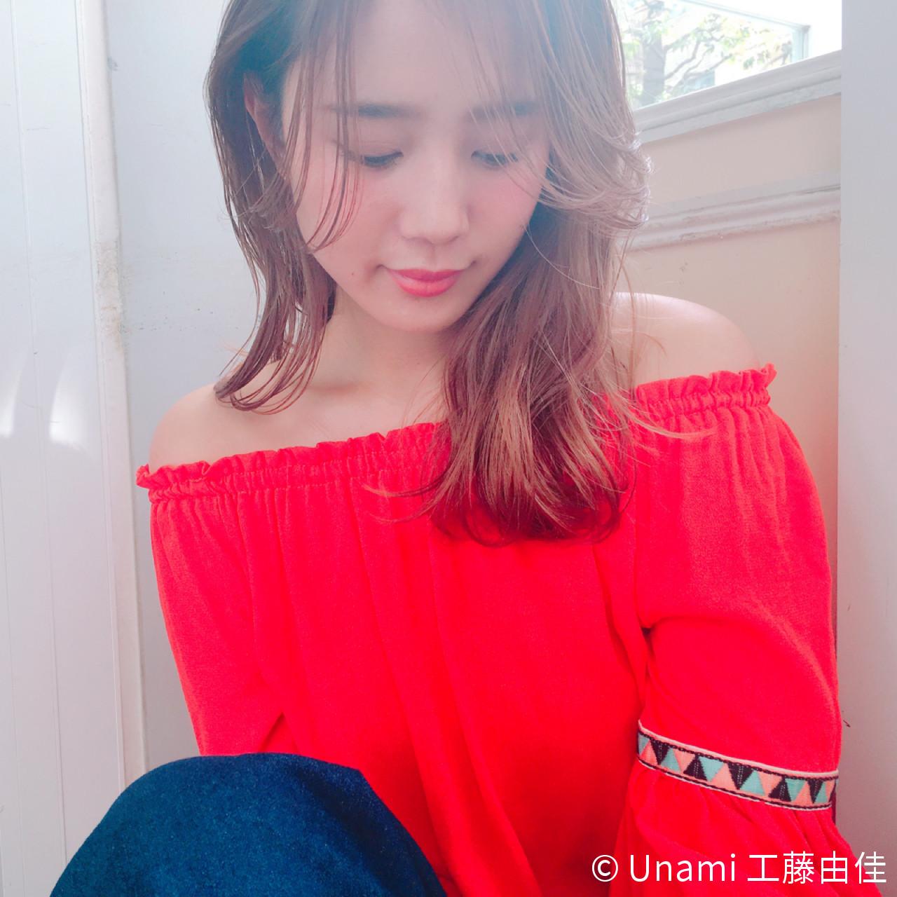 ゆるふわ セミロング パーマ 色気 ヘアスタイルや髪型の写真・画像 | Unami 工藤由佳 / Unami omotesando