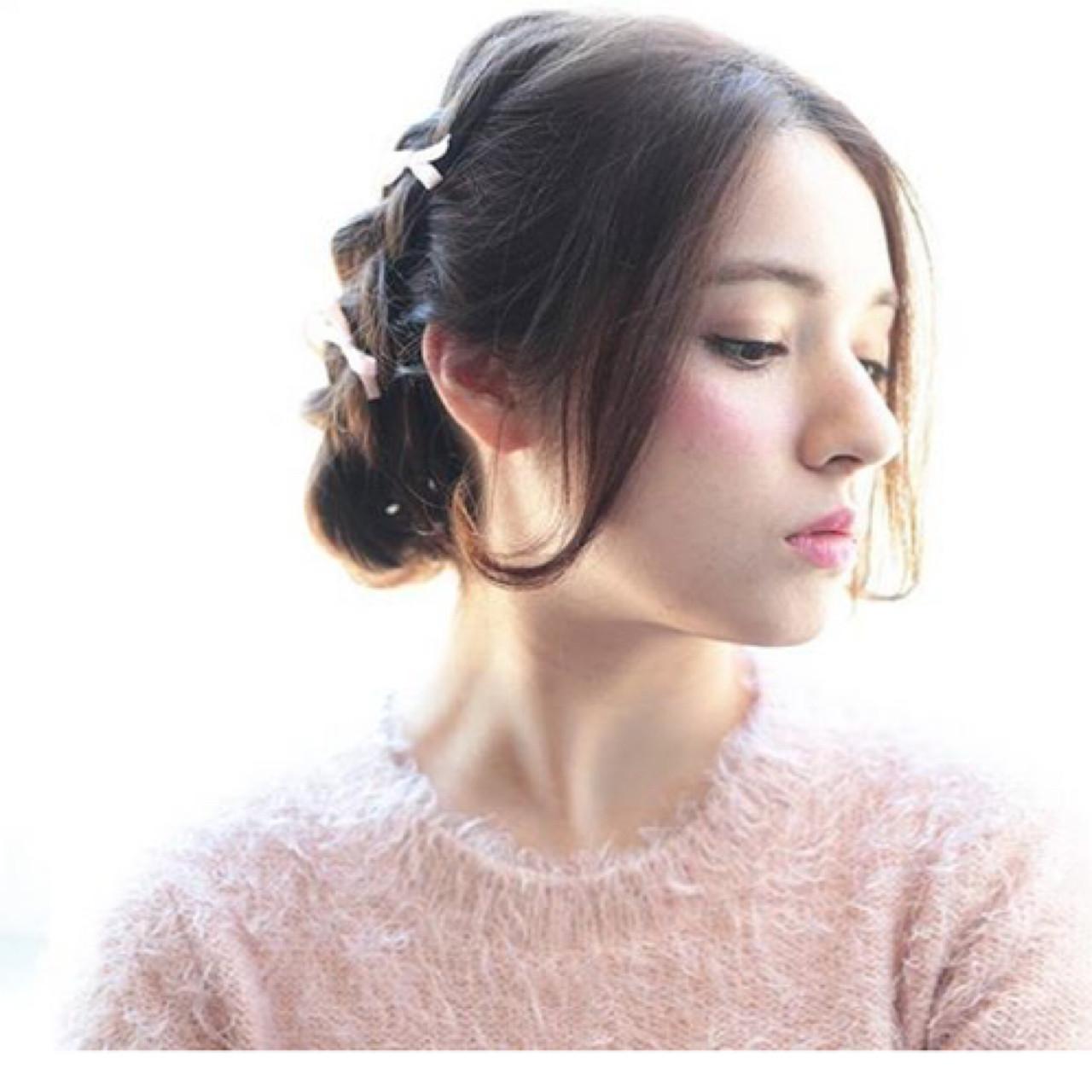 ガーリー ショート 簡単ヘアアレンジ ミディアム ヘアスタイルや髪型の写真・画像 | 渡会佳奈 / RUALA