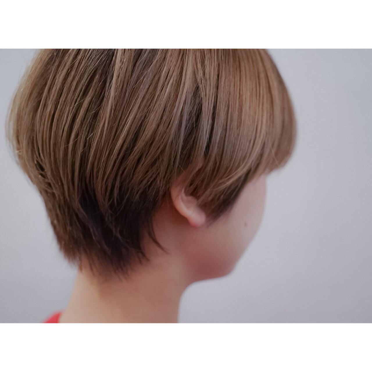 ナチュラル グラデーションカラー ショート 大人かわいい ヘアスタイルや髪型の写真・画像 | ケンタロー / Nicole.