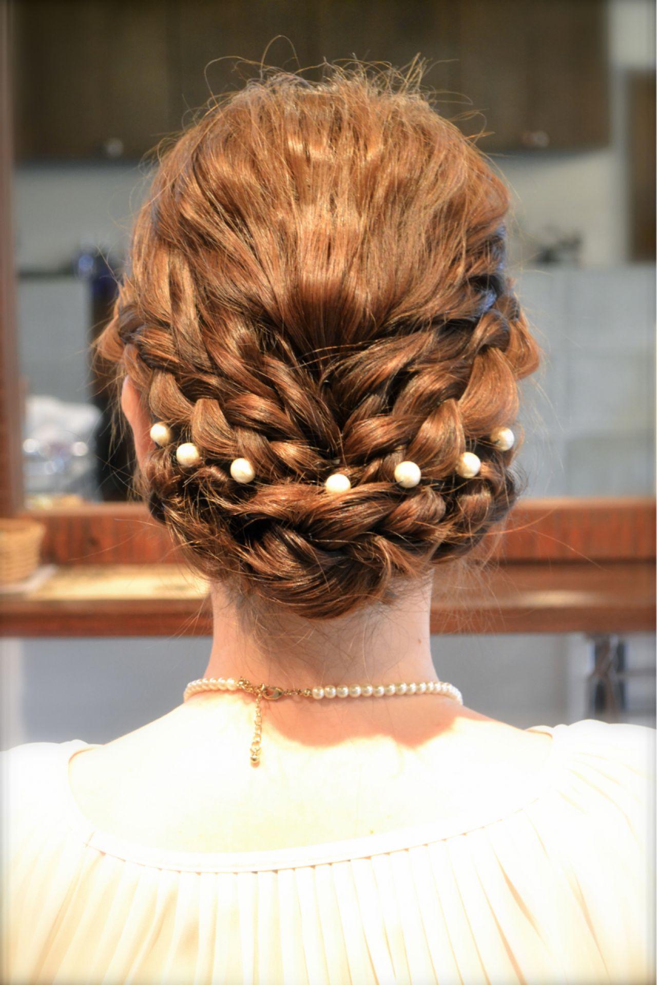 結婚式 三つ編み ヘアアレンジ ナチュラルヘアスタイルや髪型の写真・画像