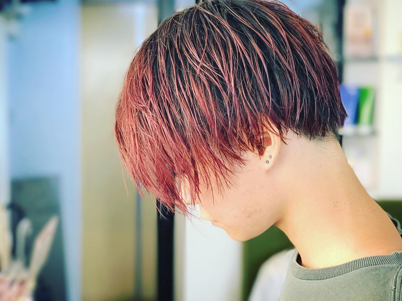 レッド かっこいい ボブ ピンク ヘアスタイルや髪型の写真・画像 | カワマタ リョウスケ / w h i t e . 梅田