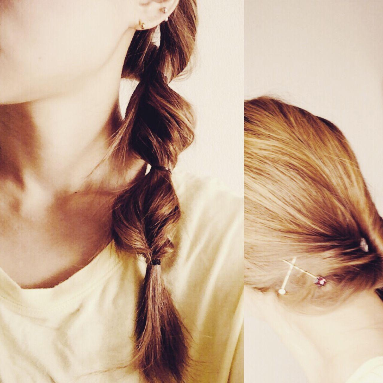 ショート 簡単ヘアアレンジ セルフヘアアレンジ くるりんぱヘアスタイルや髪型の写真・画像