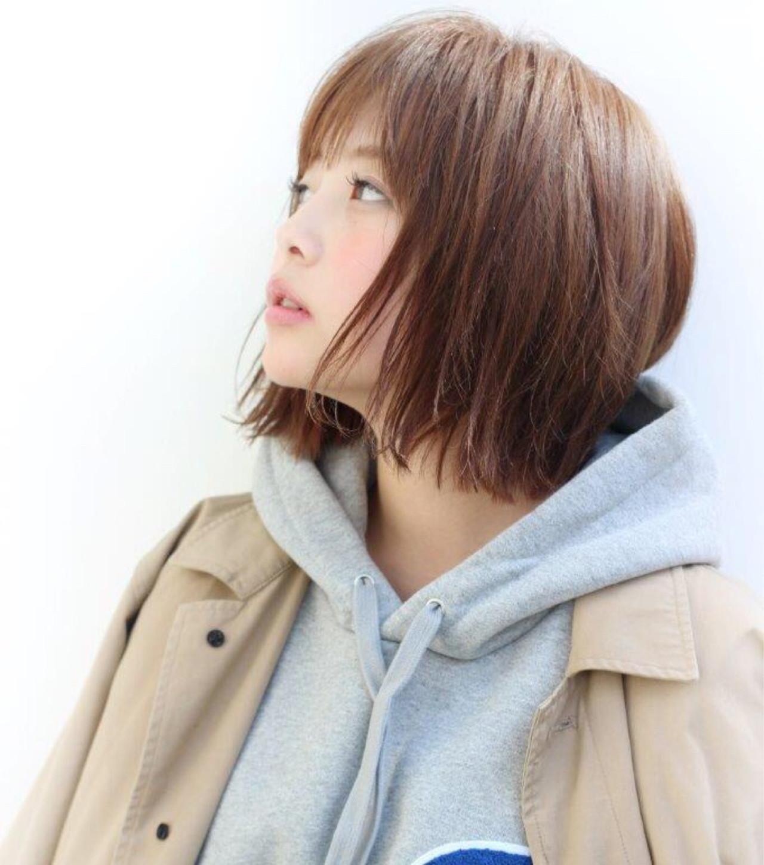 ボブ ハイライト ストリート 切りっぱなし ヘアスタイルや髪型の写真・画像 | 切りっぱなしレイヤー&パーマ Un ami 増永 / Un ami omotesando