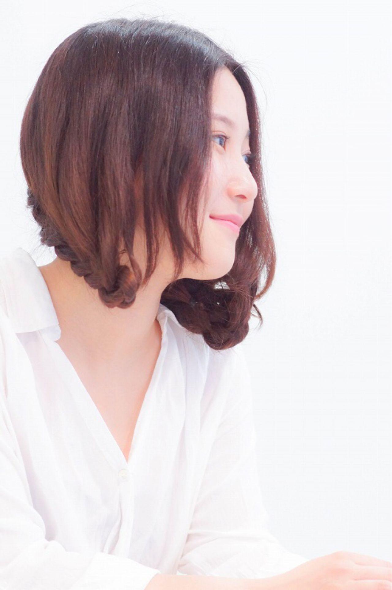 ヘアアレンジ 三つ編み フェミニン 大人かわいいヘアスタイルや髪型の写真・画像
