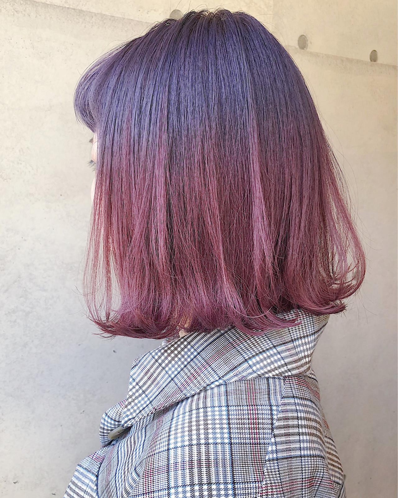 ピンクラベンダー ストリート ラベンダーカラー ピンクカラーヘアスタイルや髪型の写真・画像