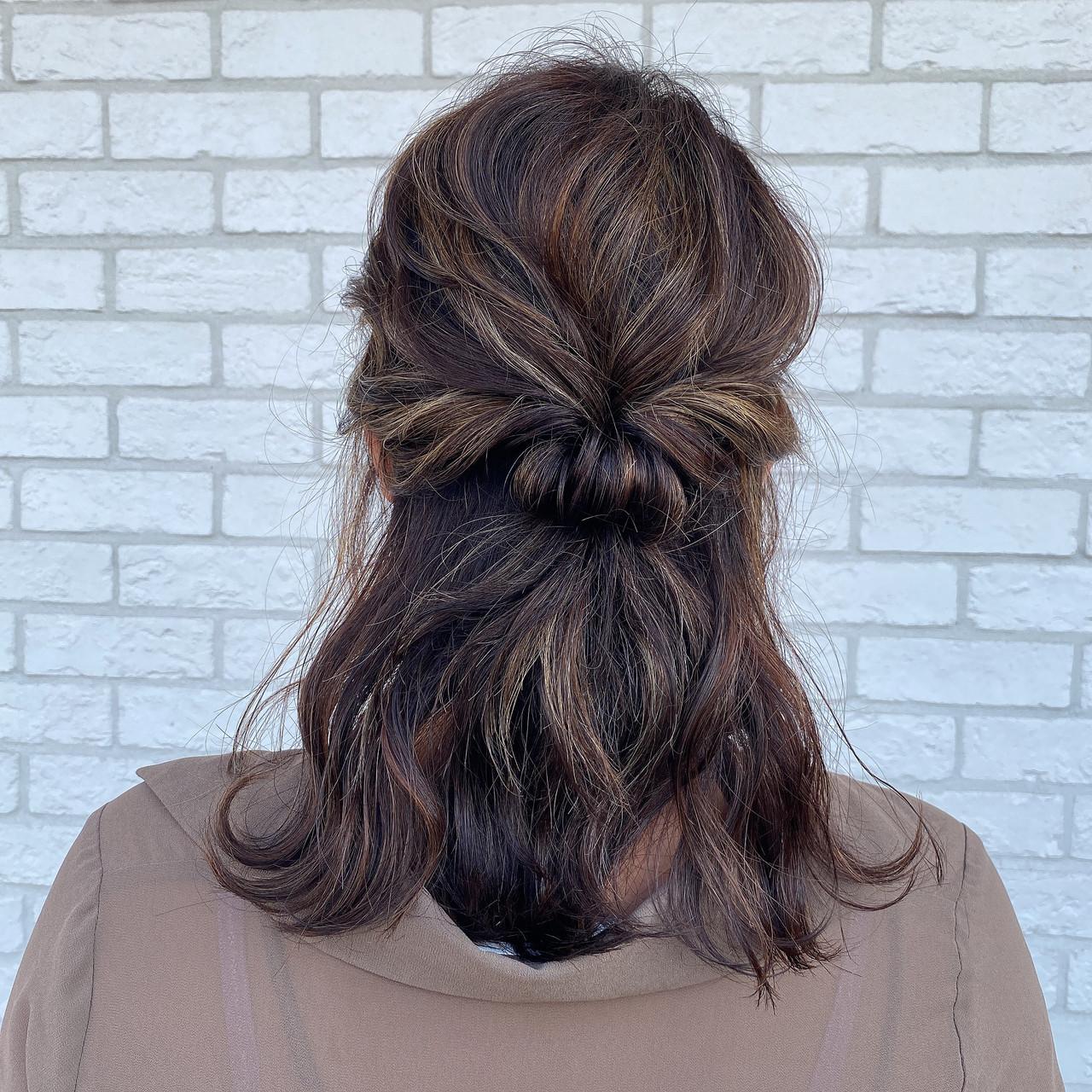 ハイライト ホワイトハイライト コントラストハイライト セミロングヘアスタイルや髪型の写真・画像