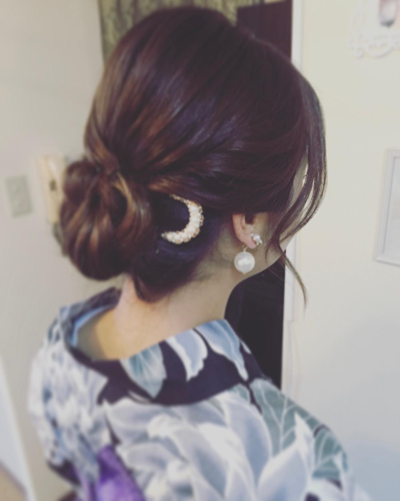 セミロング 女子会 和装 デート ヘアスタイルや髪型の写真・画像 | Moriyama Mami / 福岡天神ヘアセット・着付け専門店【Three-keys】