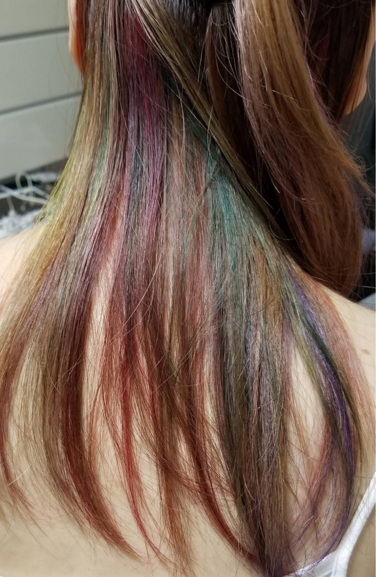 ストリート ピンク セミロング インナーカラー ヘアスタイルや髪型の写真・画像   TMe hair/tomoe chiba / TMe hair川崎小田