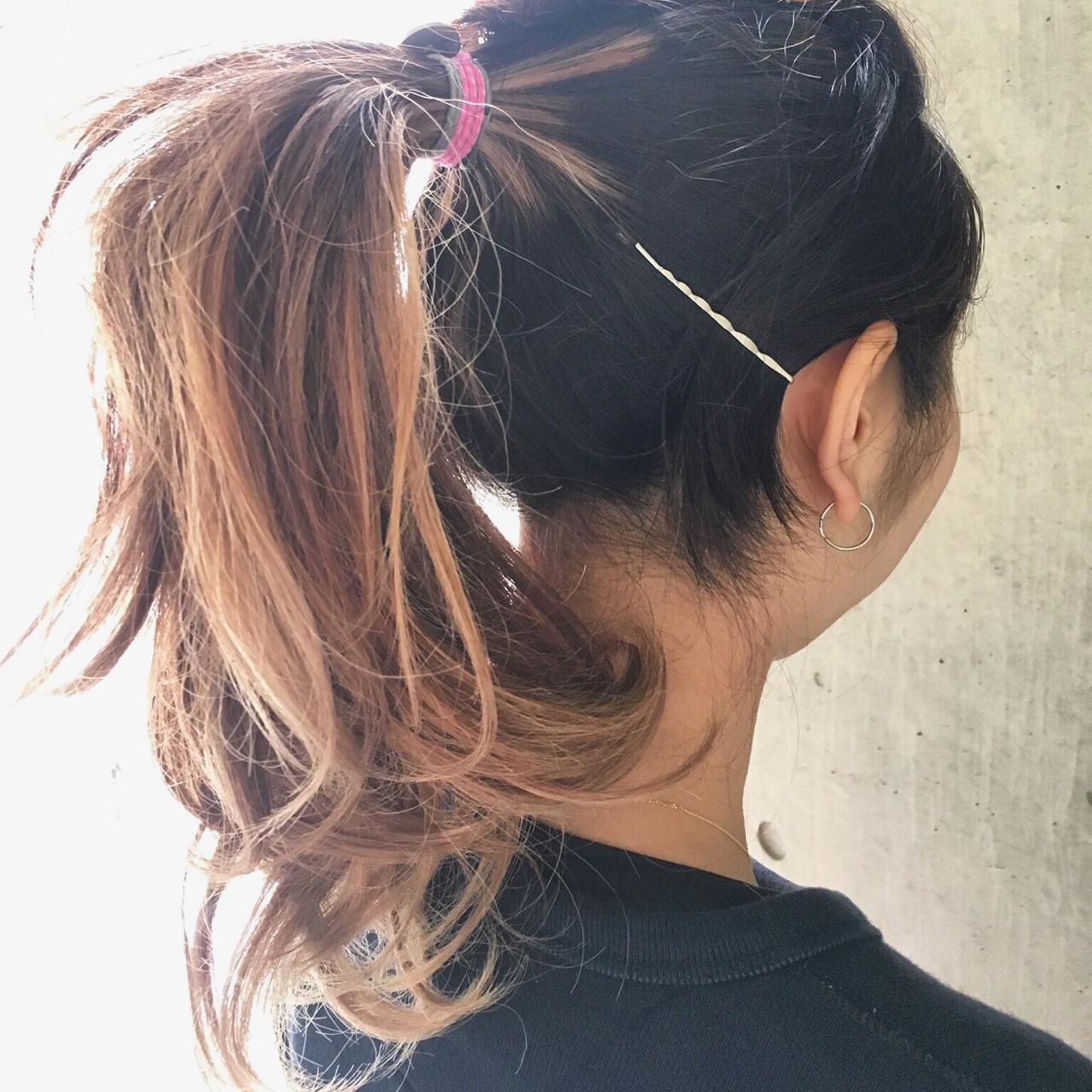 ハーフアップ ロング ストリート ハイライトヘアスタイルや髪型の写真・画像