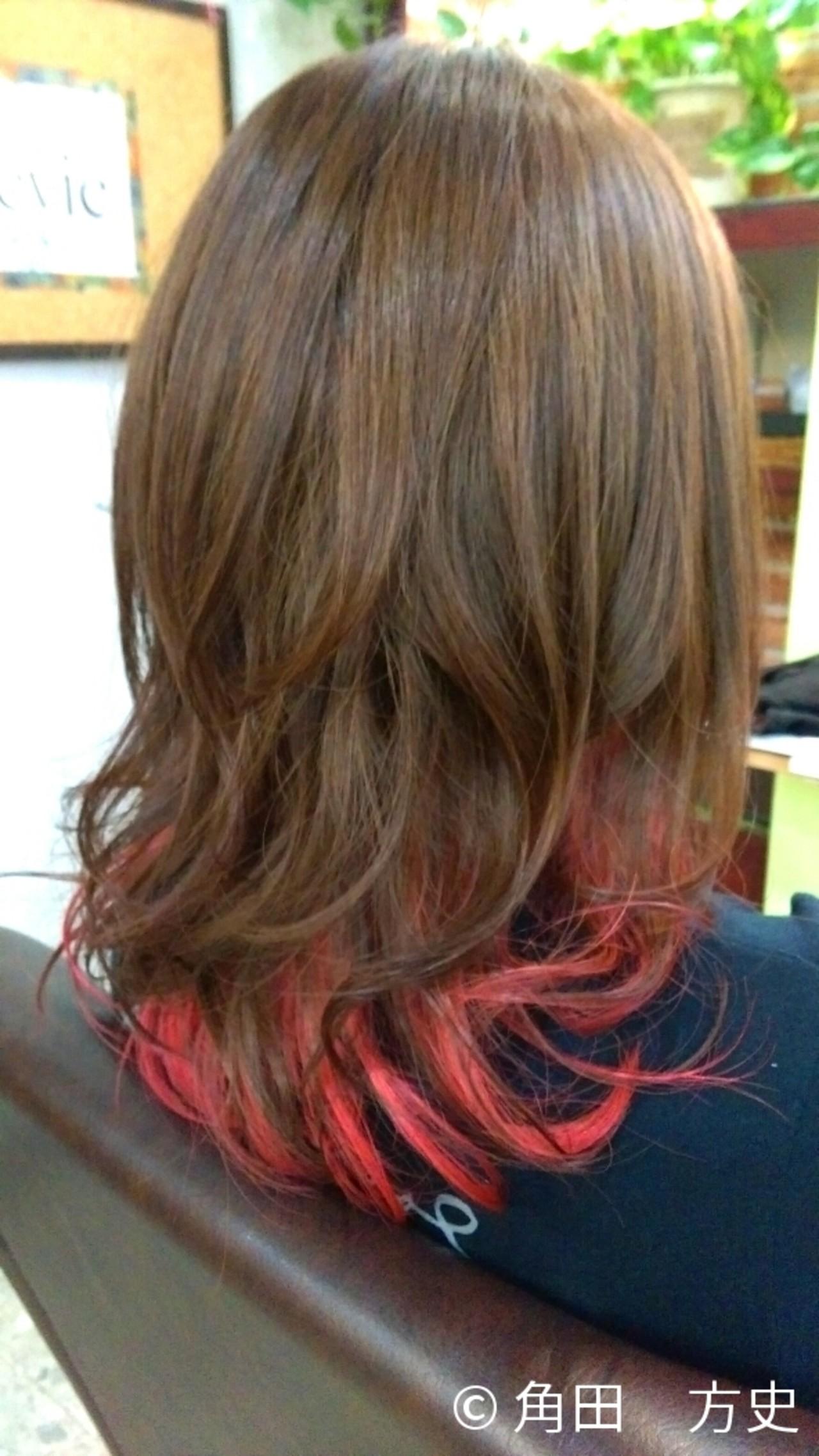 グラデーションカラー ゆるふわ ハイライト セミロング ヘアスタイルや髪型の写真・画像 | 角田 方史 / hair & esthe Revie