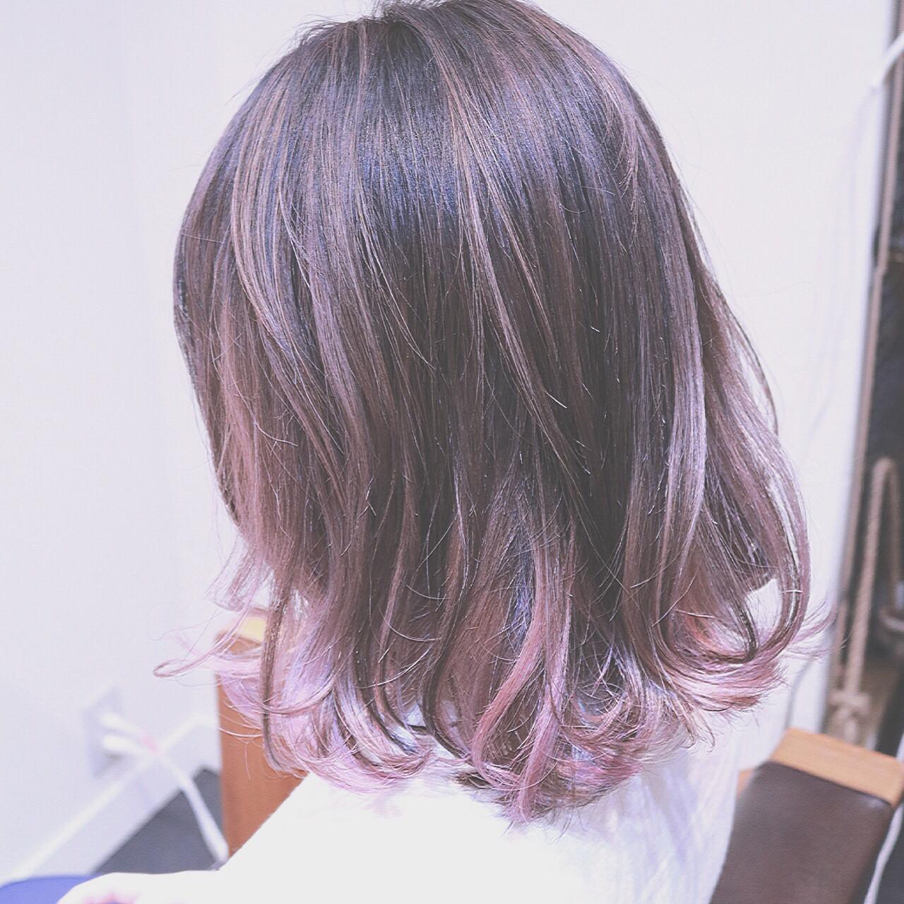 ミルクティー バレイヤージュ ピンク グラデーションカラー ヘアスタイルや髪型の写真・画像 | RUMINA //高田ゆみこ / Rumina