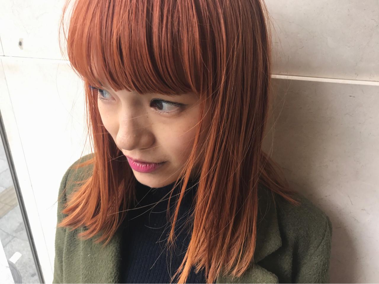 前髪あり ストリート ダブルカラー オレンジベージュ ヘアスタイルや髪型の写真・画像 | 野間祐樹 / HAIR'S Lunetta (ヘアーズ ルネッタ)