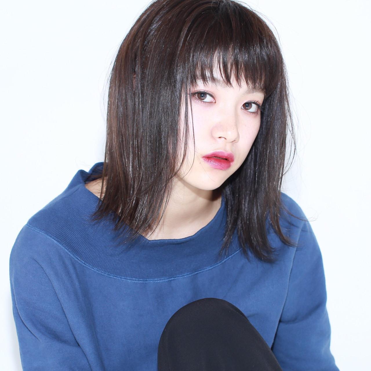 黒髪 パープル ミディアム 色気 ヘアスタイルや髪型の写真・画像 | イマムラ スナオ / LUKE
