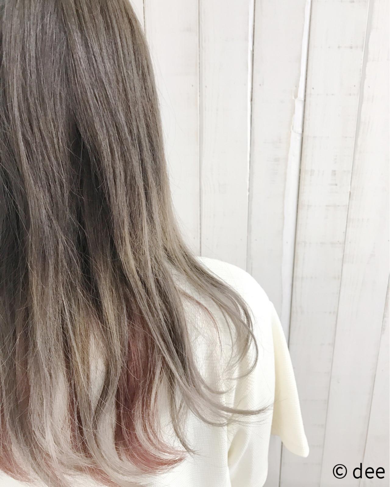 グレージュ グラデーションカラー 外国人風 インナーカラー ヘアスタイルや髪型の写真・画像 | dee / dee