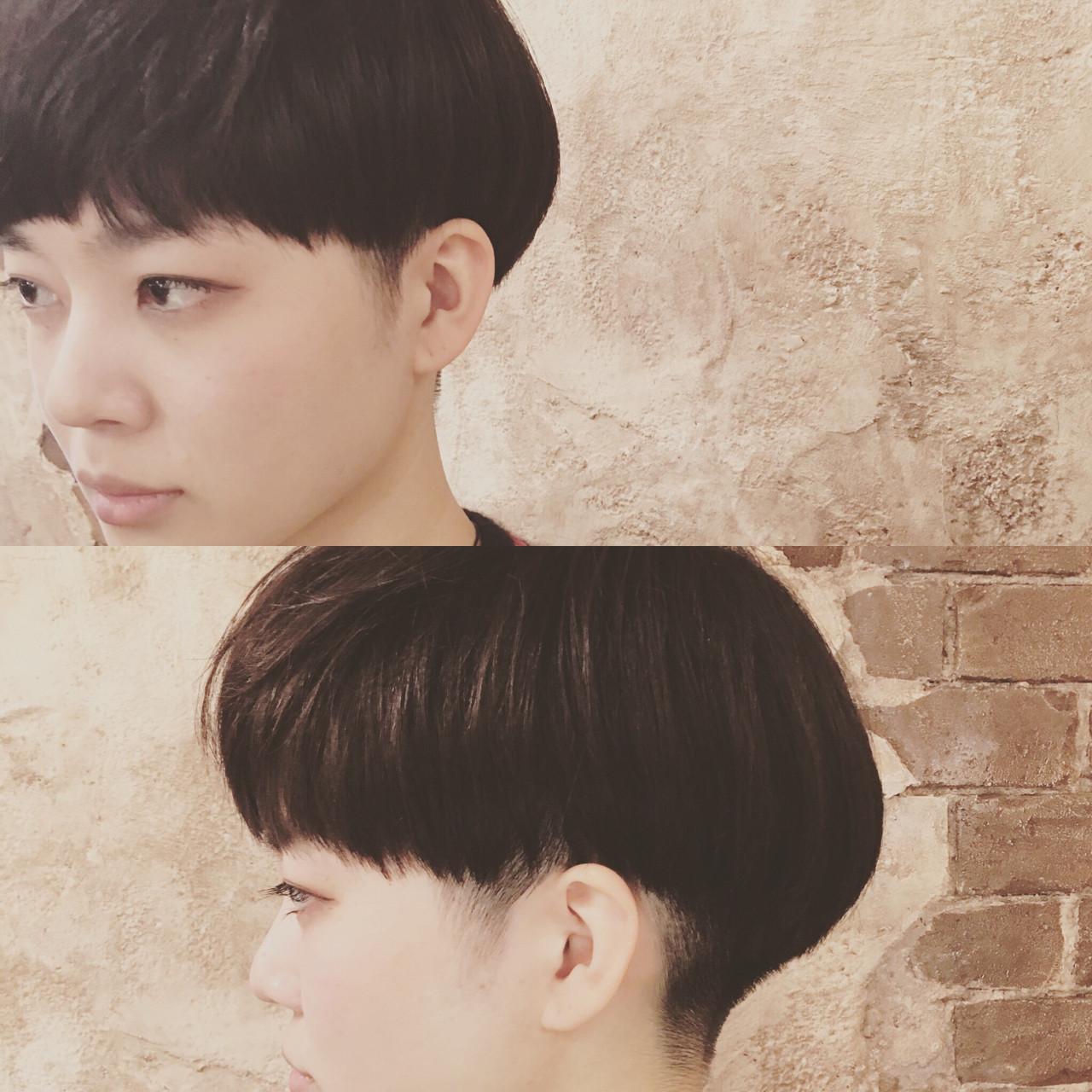 ベリーショート フリンジバング ショート ナチュラルヘアスタイルや髪型の写真・画像