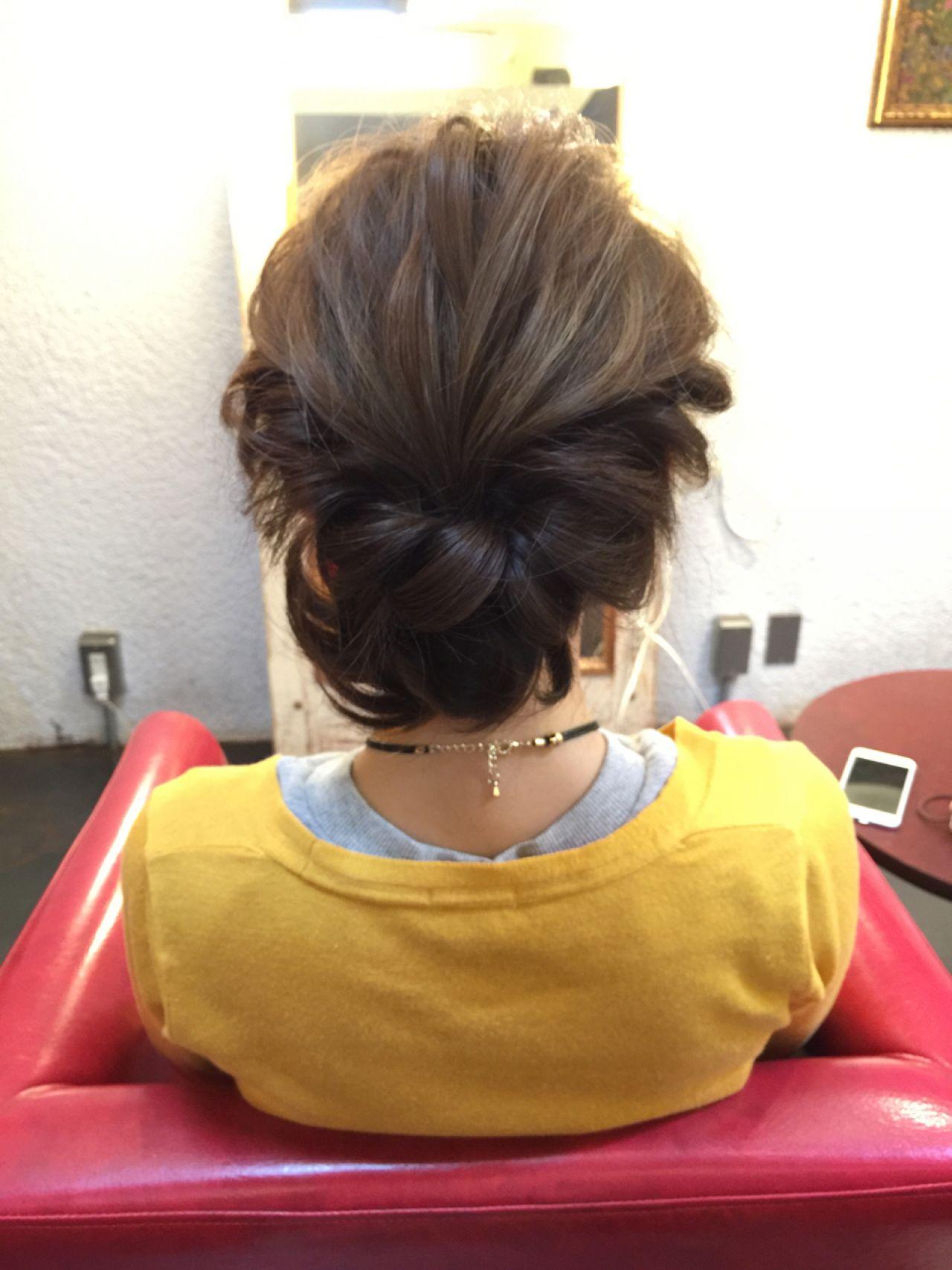 編み込み ヘアアレンジ まとめ髪 簡単 ヘアスタイルや髪型の写真・画像   tomonari / iroiro (イロイロ)