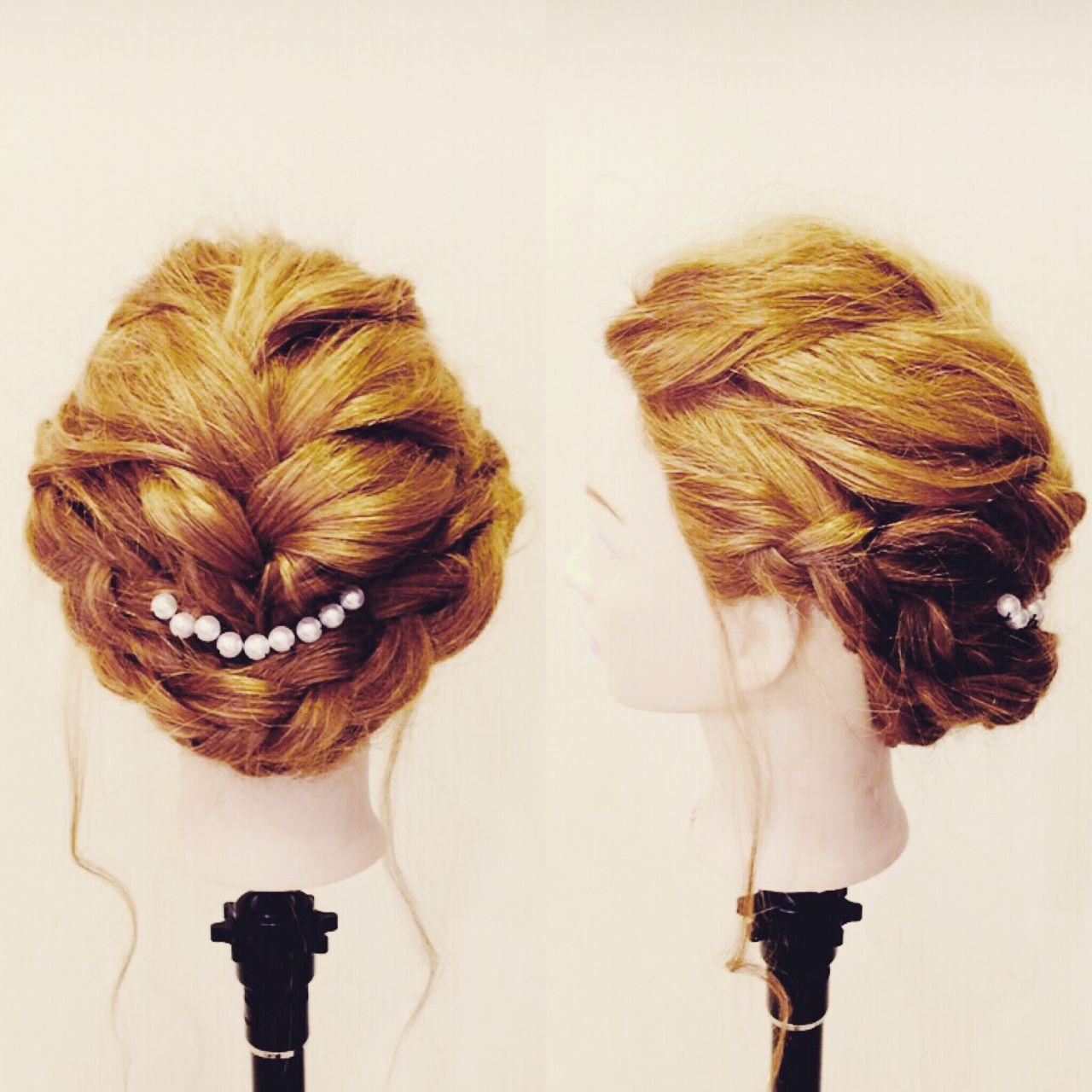 結婚式 和装 編み込み ガーリー ヘアスタイルや髪型の写真・画像 | いまむ / ARES