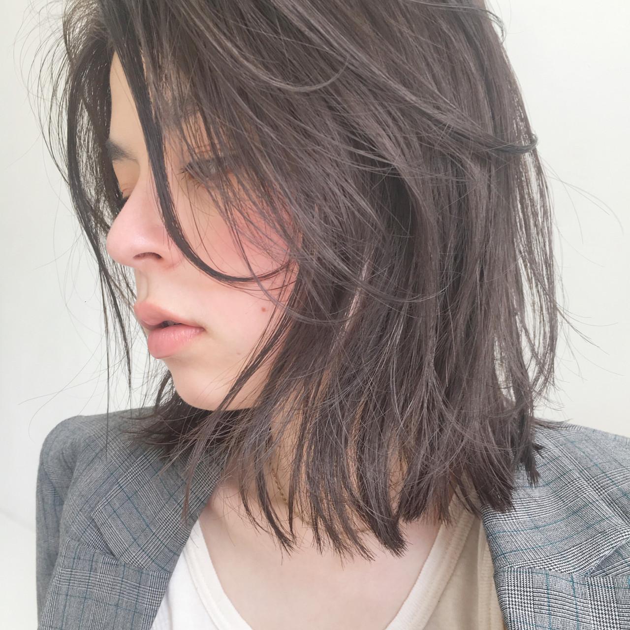 モード ロブ ミディアム 透明感 ヘアスタイルや髪型の写真・画像   中島 潮里 / whyte / whyte