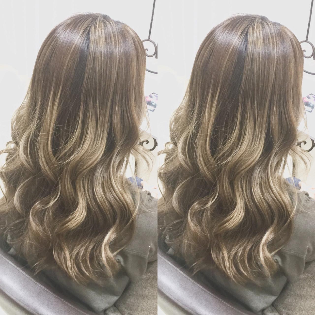 グラデーションカラー 外国人風カラー ハイライト ロングヘアスタイルや髪型の写真・画像
