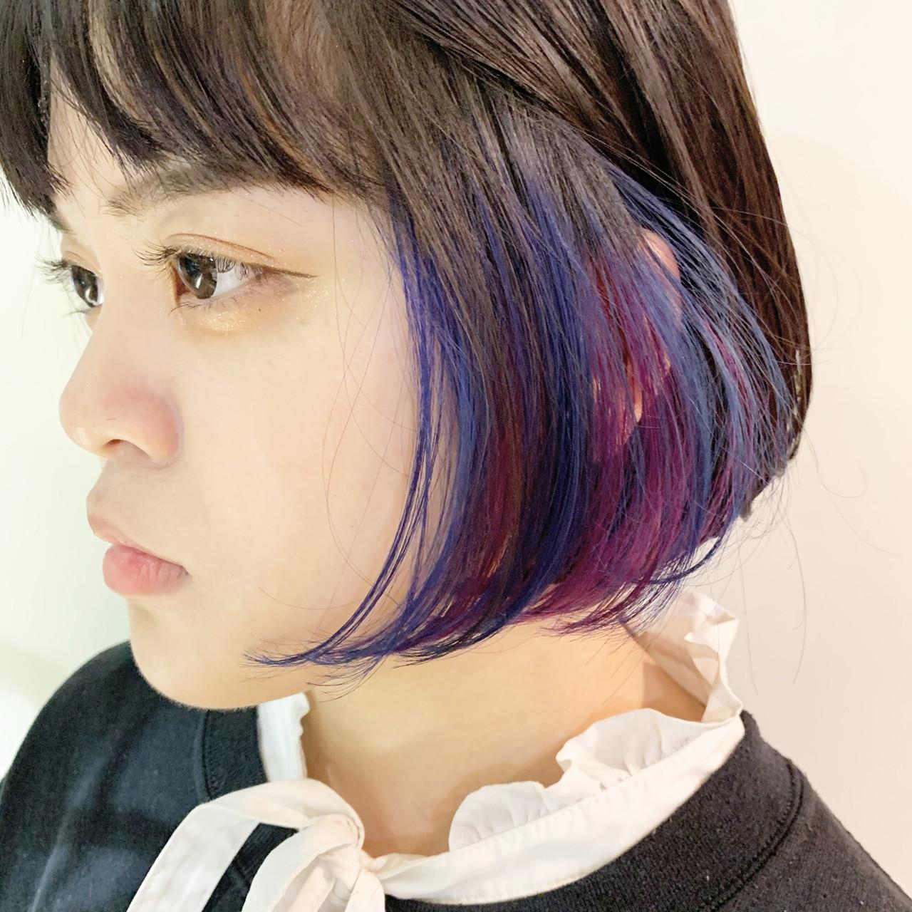 インナーカラーパープル ミニボブ ストリート ショートボブヘアスタイルや髪型の写真・画像