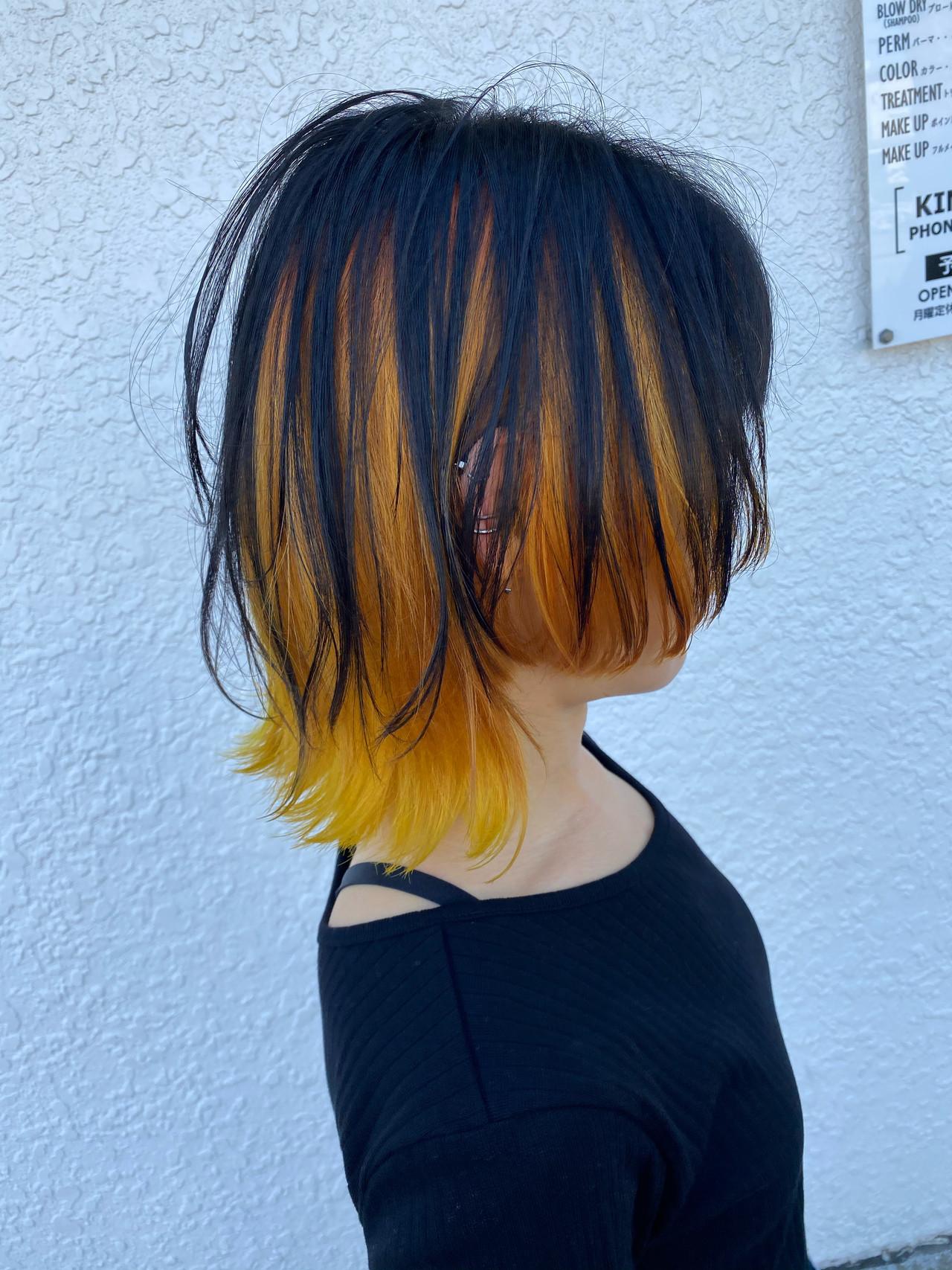 インナーカラー ボブ オレンジカラー ウルフカット ヘアスタイルや髪型の写真・画像   蝦名貴之 / KINTARO