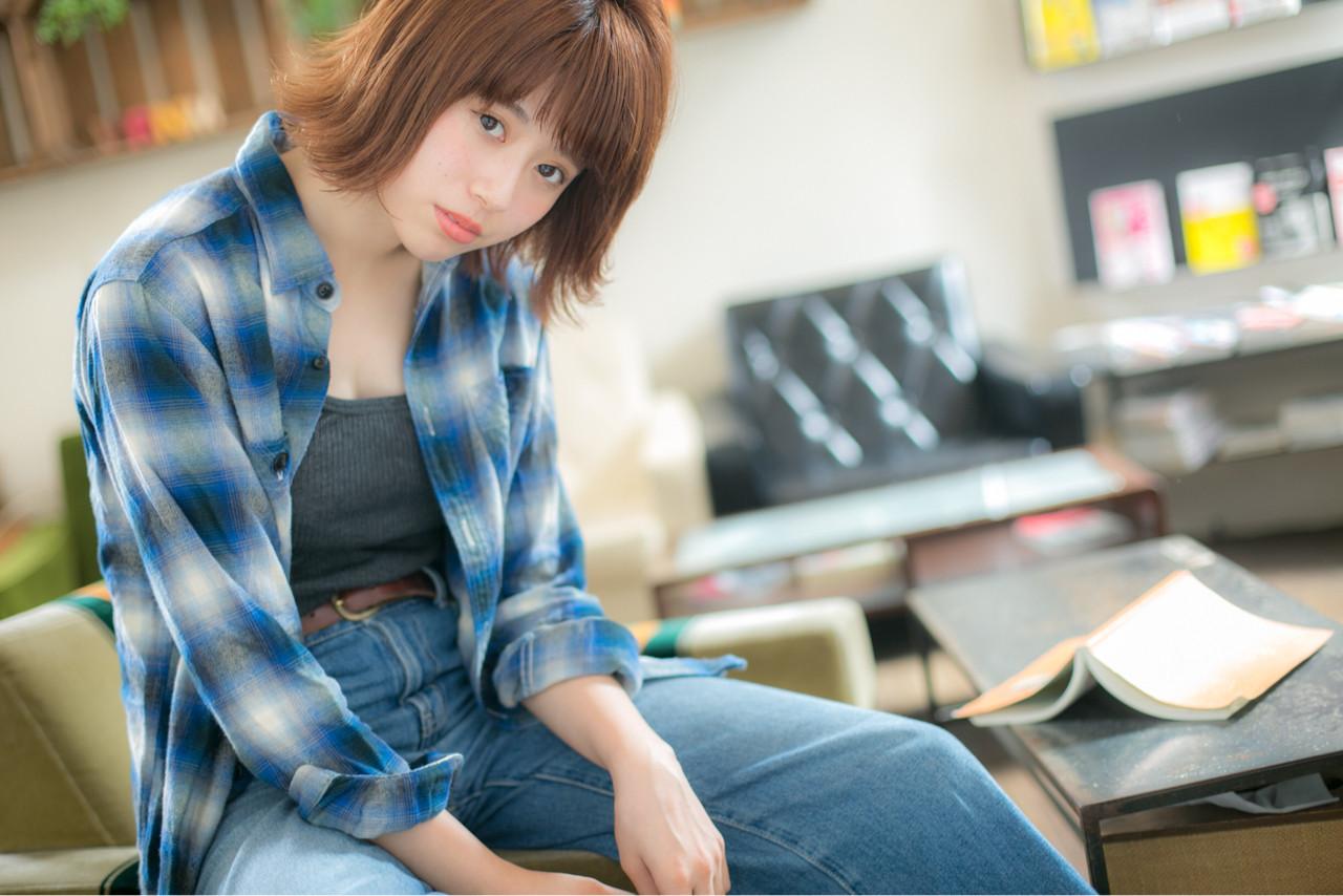 ストリート 色気 フェミニン ボブ ヘアスタイルや髪型の写真・画像   山岡 砂矢夏 /