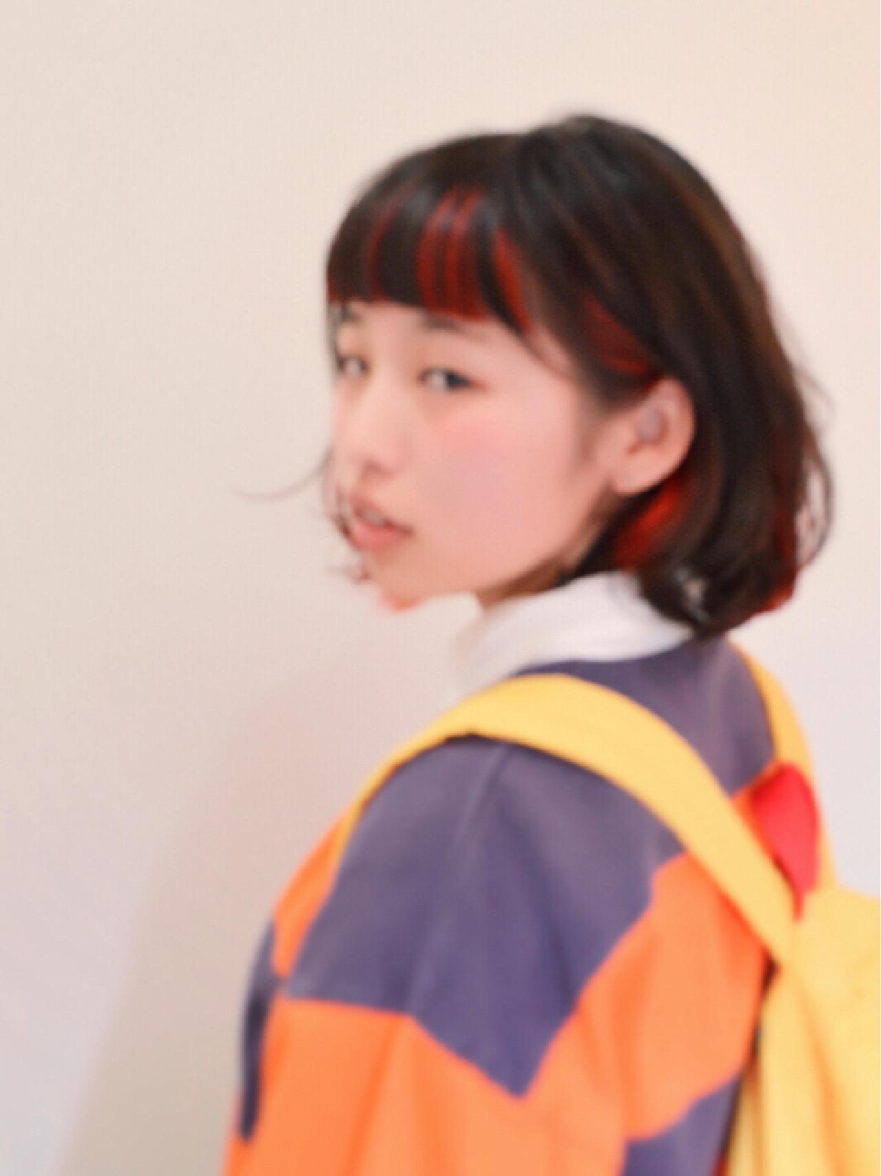 耳かけ レイヤーカット ボブ 前髪あり ヘアスタイルや髪型の写真・画像 | カラーリスト・YuuKi Sekimoto / wherever