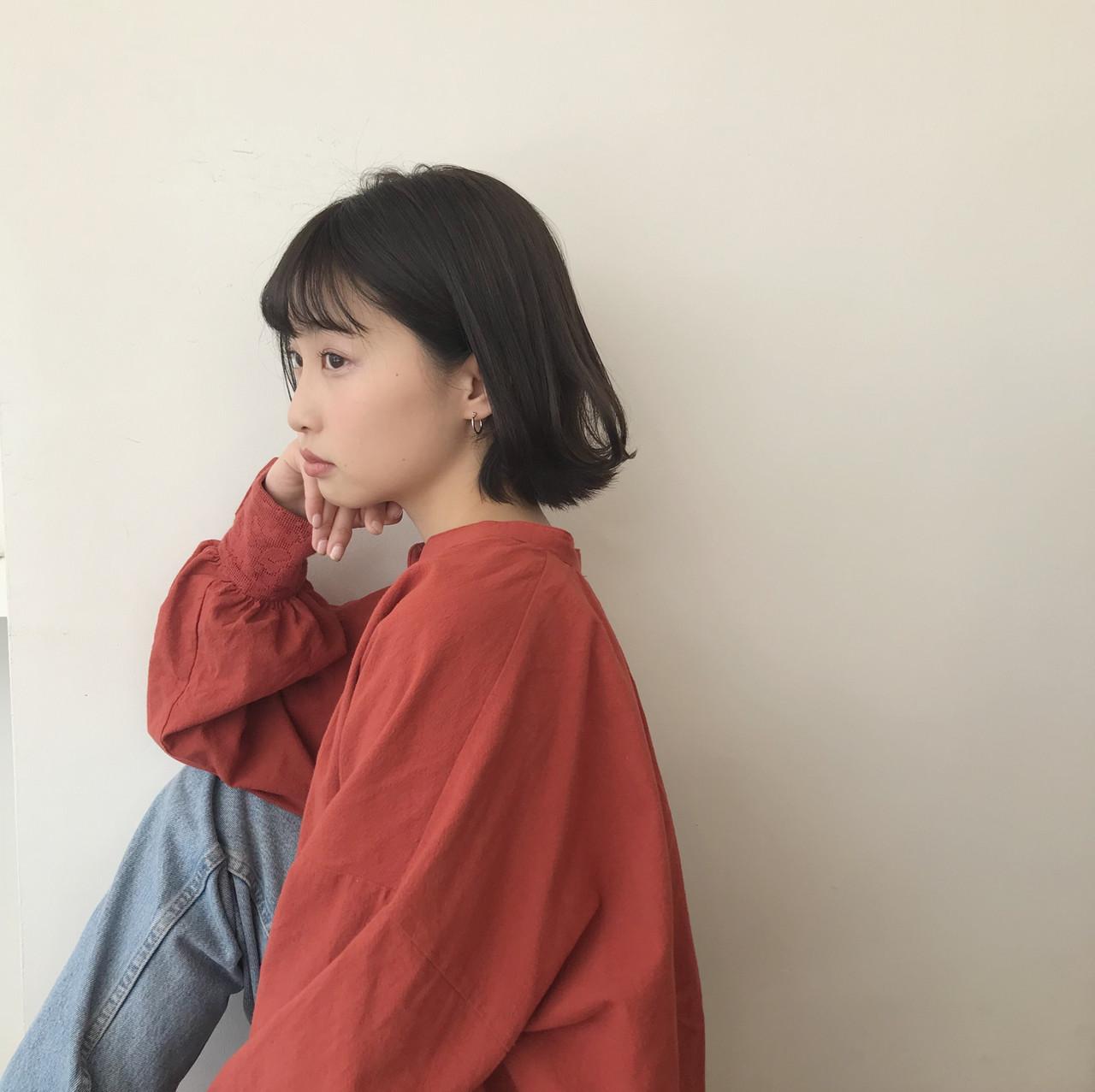 ミニボブ モテボブ 切りっぱなしボブ ショートボブ ヘアスタイルや髪型の写真・画像 | 井浦果歩 / ecouter