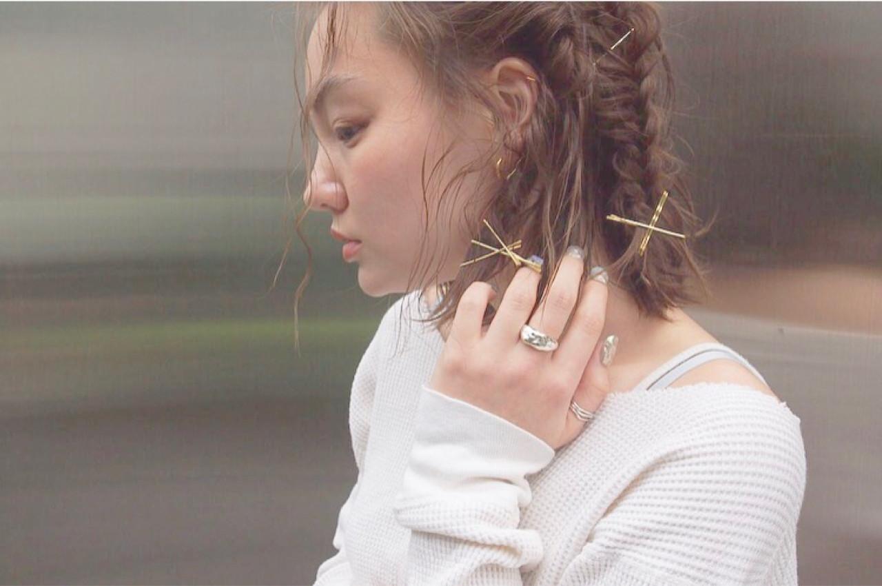 ボブ 簡単ヘアアレンジ ナチュラル ショート ヘアスタイルや髪型の写真・画像 | Rie Akita / LOAVE omotesando