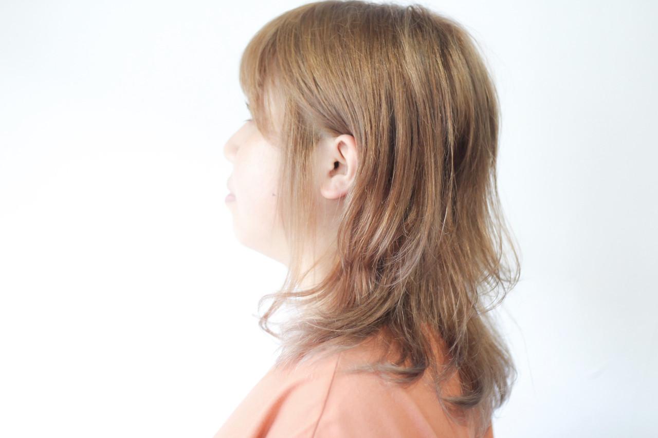 ヌーディベージュ セミロング ミルクティーグレージュ ミルクティーベージュ ヘアスタイルや髪型の写真・画像   creap / creap