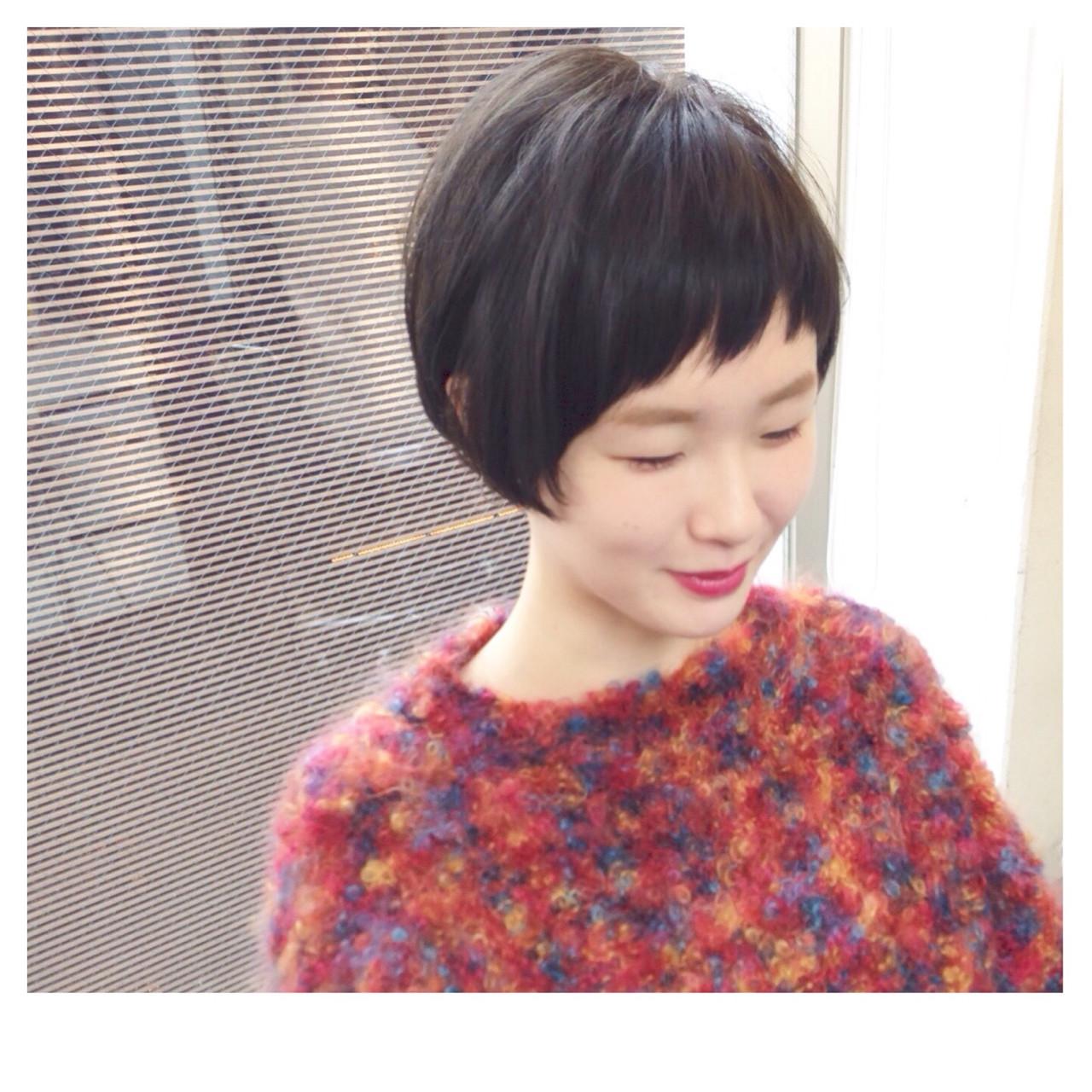 前髪あり ボブ ナチュラル アッシュ ヘアスタイルや髪型の写真・画像 | 梅原 寿 / RITZY
