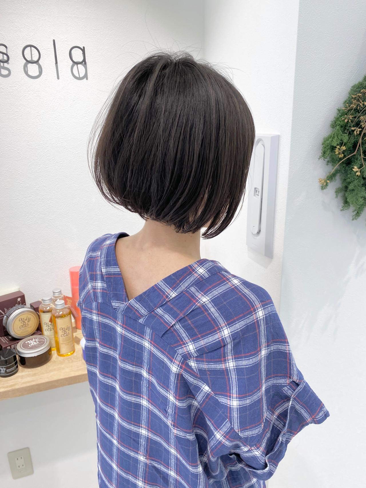 ワンカール ミニボブ 切りっぱなしボブ ナチュラル ヘアスタイルや髪型の写真・画像 | 金子ひろゆき / sola