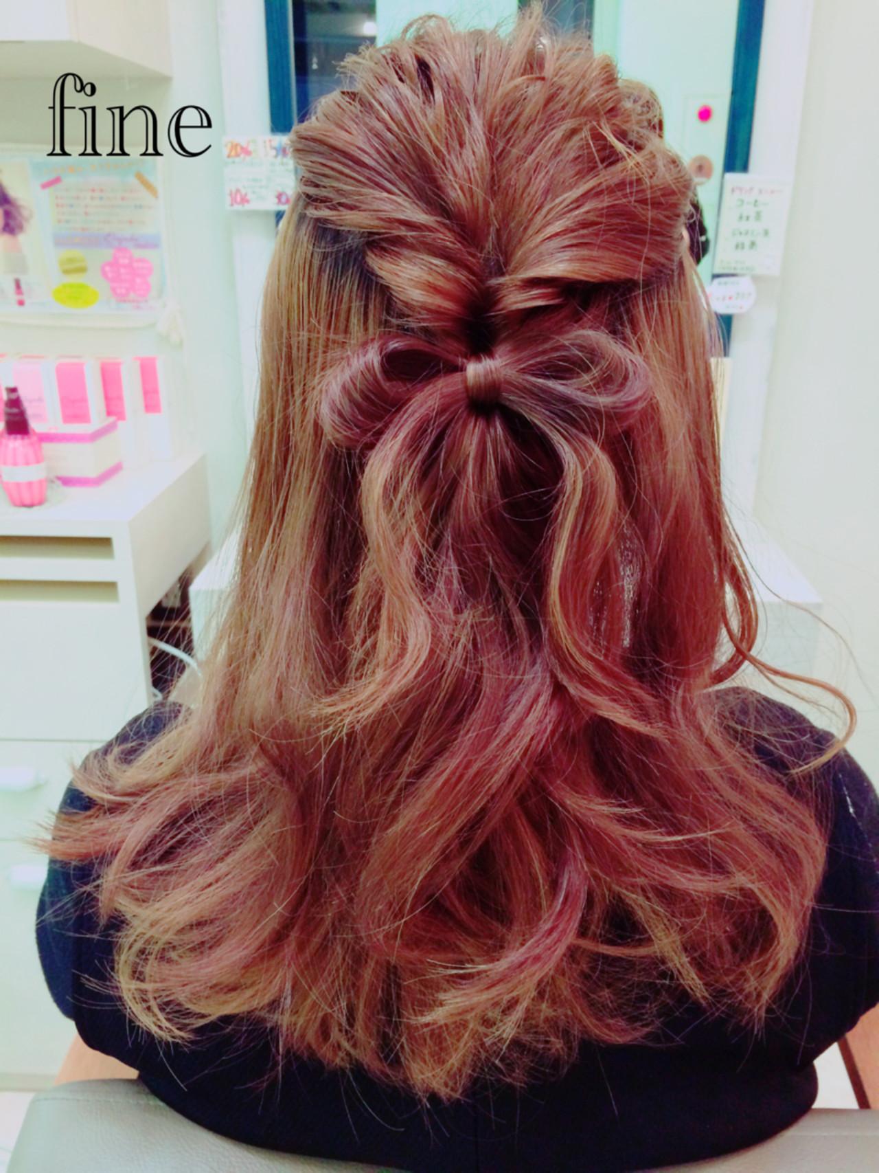 ショート 簡単ヘアアレンジ ハーフアップ セミロング ヘアスタイルや髪型の写真・画像 | Yuki Funayama / VISAGE fine