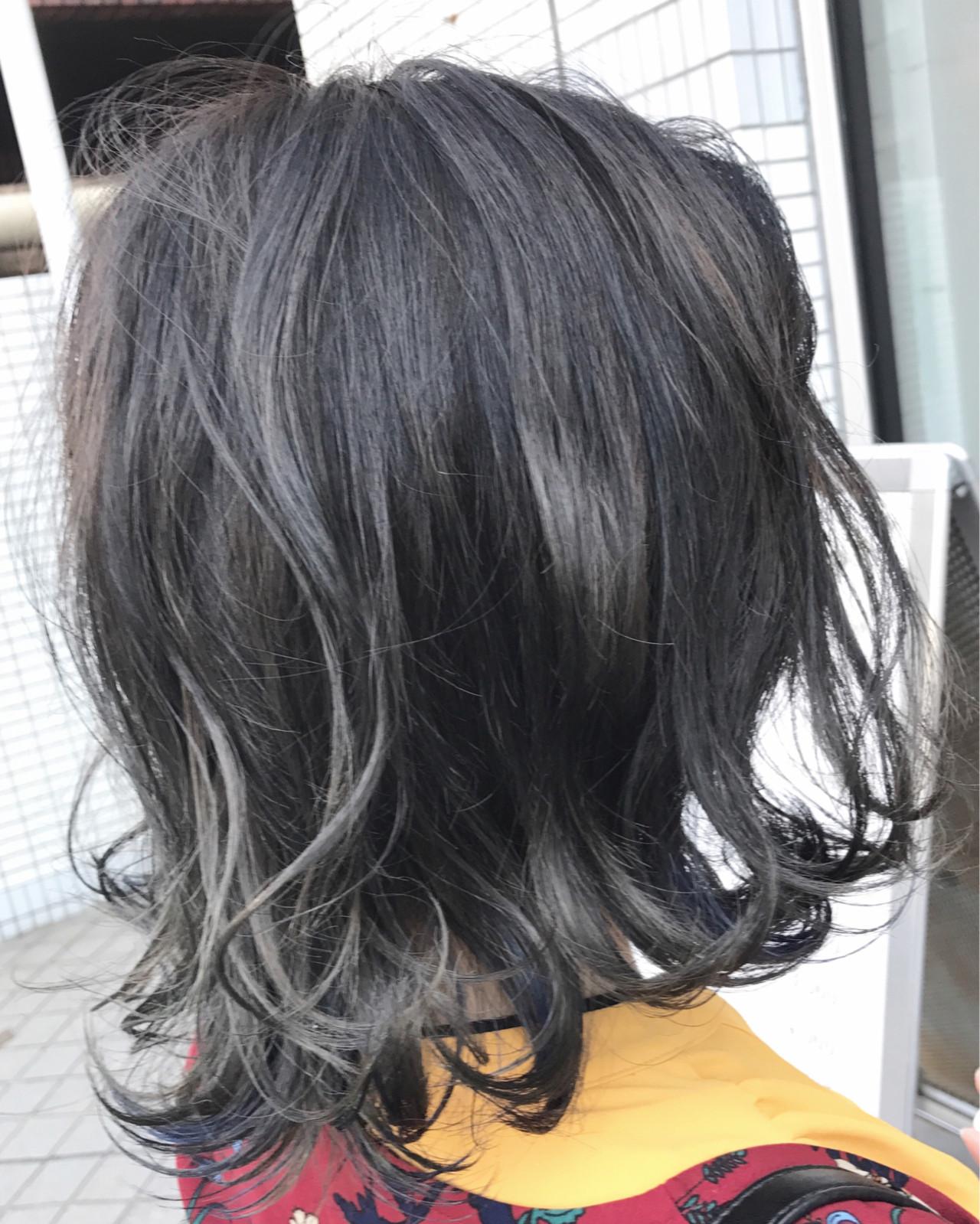 ダブルカラー アッシュ ネイビー ナチュラル ヘアスタイルや髪型の写真・画像 | 永尾 拓也 / unopulir LOG梅田茶屋町店(ウノプリール)