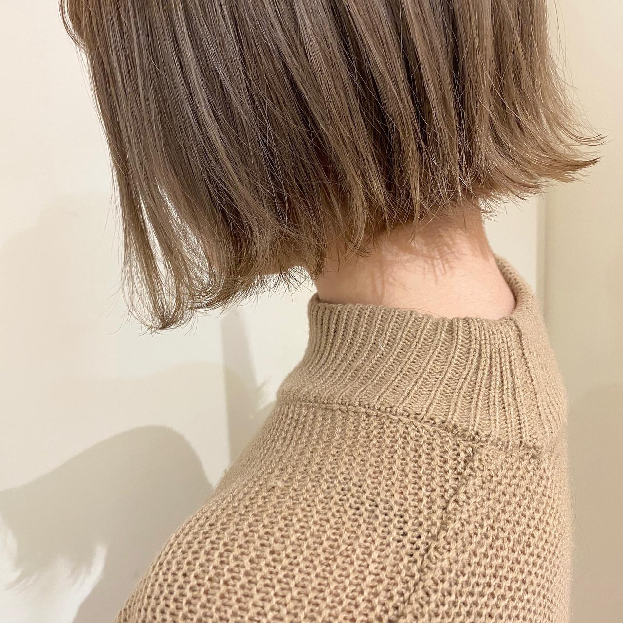 切りっぱなしボブ 前下がりボブ ミニボブ ナチュラル ヘアスタイルや髪型の写真・画像 | 田中ちひろ / Neolive capu