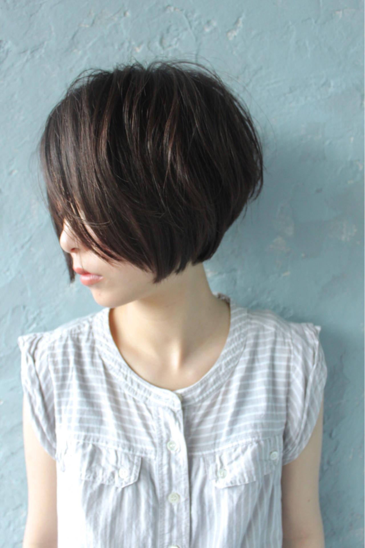 小顔 ショートボブ 似合わせ ボブヘアスタイルや髪型の写真・画像