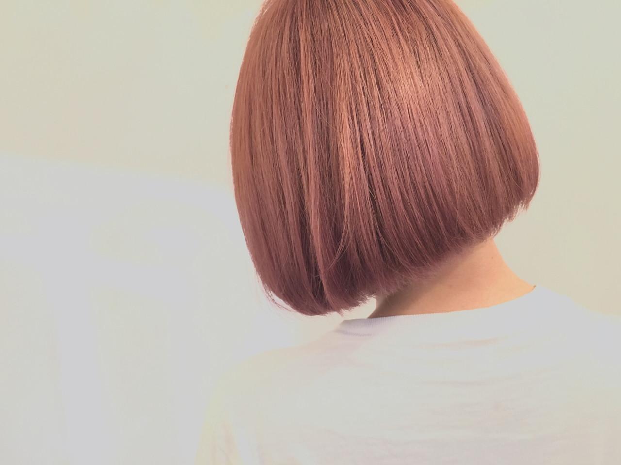 ボブ ワンレングス ハイトーン ショートボブヘアスタイルや髪型の写真・画像