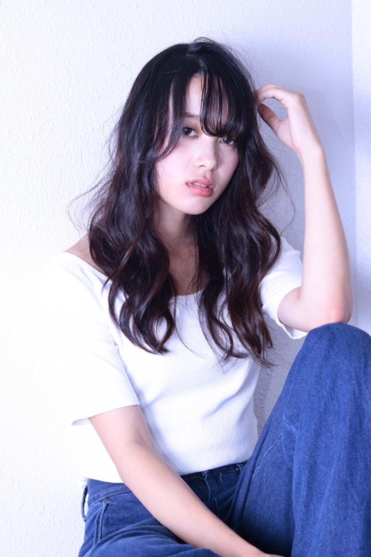 ヘアアレンジ 透明感 ロング デート ヘアスタイルや髪型の写真・画像 | RINO /