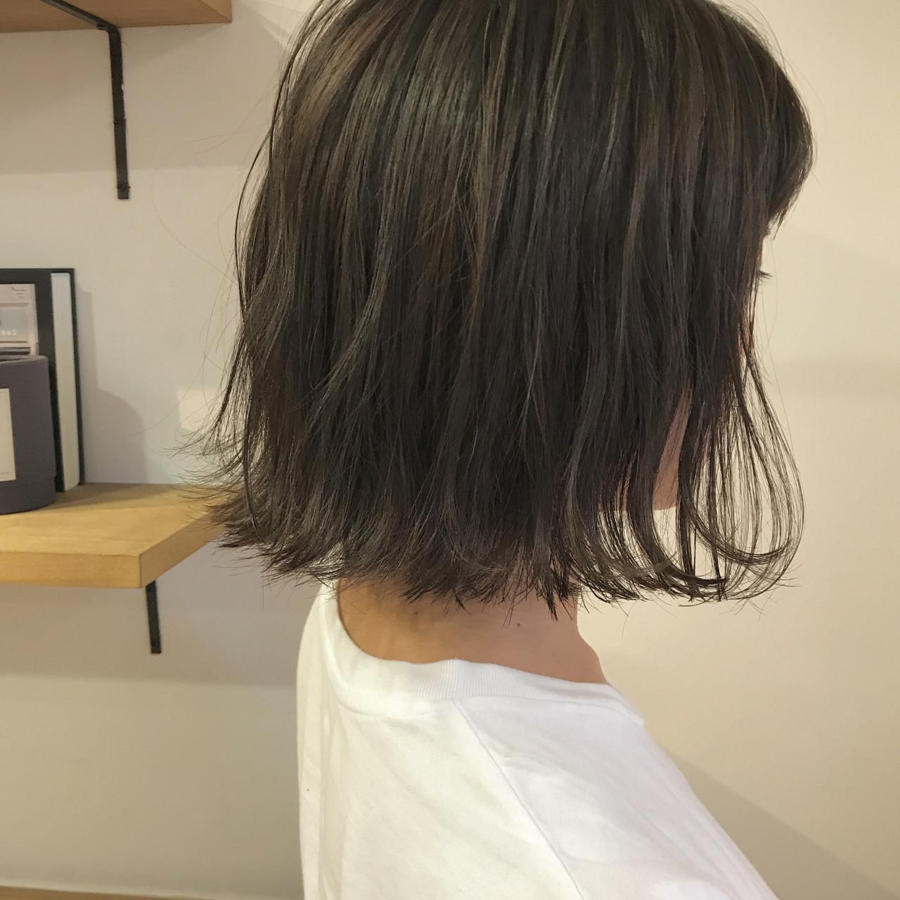 ナチュラル 切りっぱなし ハイライト 秋 ヘアスタイルや髪型の写真・画像 | KENTO.NOESALON / NOE SALON