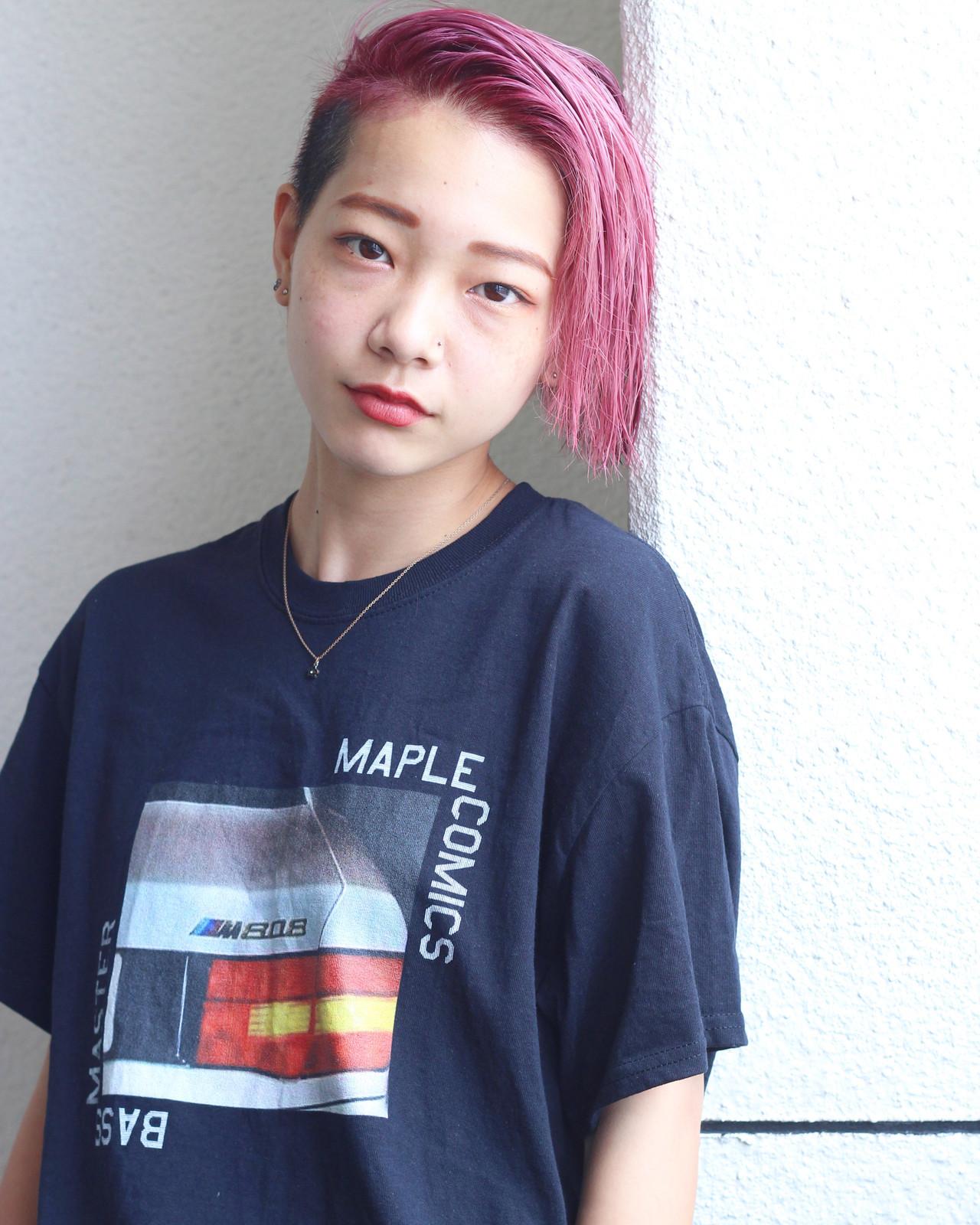 簡単ヘアアレンジ ベリーピンク ピンク ショート ヘアスタイルや髪型の写真・画像 | 松田 和幸 / tuuli