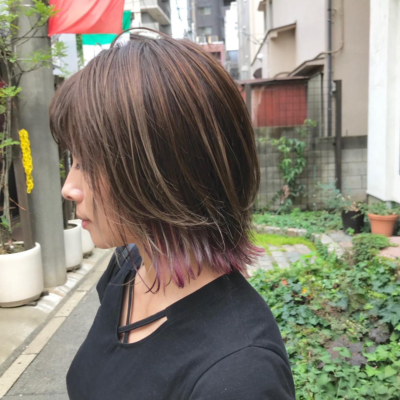 外ハネボブ ボブ 切りっぱなしボブ デザインカラー ヘアスタイルや髪型の写真・画像 | 金子ひろゆき / sola
