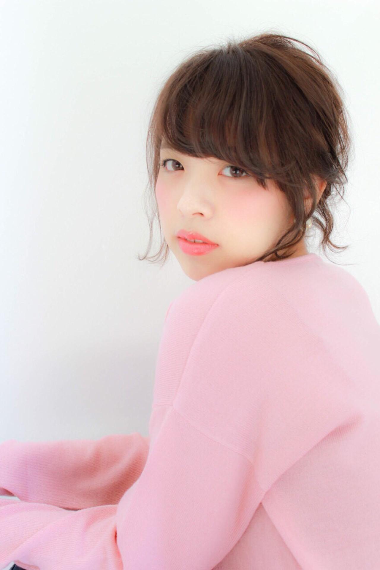暗髪 ヘアアレンジ 簡単ヘアアレンジ ショート ヘアスタイルや髪型の写真・画像 | NICO /